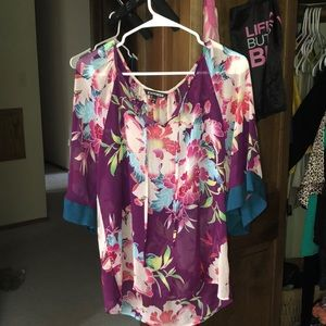 Multicolored flowy floral blouse